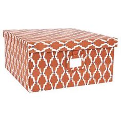Perfect for stowing scrapbooking supplies in the craft room or keepsakes in the den, this charming fabric-covered box offers stylish appeal with a burnt orange, white, and blue trellis motif. Great for holiday and year round use, boxes include a coordinating hang tag ideal for gift labels or content identification. Pattern design by Abby Hyslop (B.F.A., fibers, SCAD). Available by Working Class Studio, a product development venture of the Savannah College of Art and Design that cultivates…