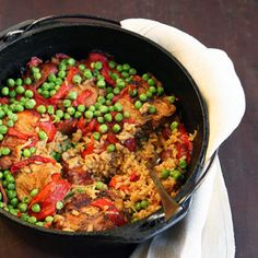 Chicken and Brown Rice with Chorizo Recipe | SAVEUR