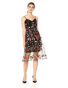 Shoshanna Women's Honoria Spaghetti Strap Fit and Flare Dress, Jet Multi, 12   #FreedomOfArt  Join us, SUBMIT your Arts and start your Arts Store   https://playthemove.com/SignUp