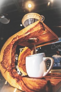 Hario V60 on one of our custom made stands in the shop.