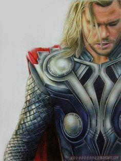 Thor by a-d-i--n-u-g-r-o-h-o on deviantart colored pencil pencil drawings p Marvel Fan Art, Marvel Avengers, Marvel Comics, Thor Drawing, Jesus Painting, Marvel Drawings, Coloured Pencils, Marvel Wallpaper, Color Pencil Art
