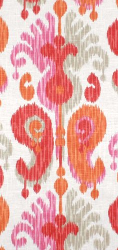 Braemore Journey Fruitty pink, orange and gray ikat Fabric $21.75 per yard