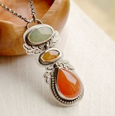 Sapphire and Carnelian Necklace by EONDesignJewelry Sapphire Necklace, Carnelian, Stone Pendants, Sterling Silver Chains, Metal Working, Gemstone Jewelry, Bling, Stuff To Buy, Studio
