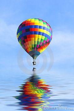 hot+air+ballon+over+lavender | Royalty Free Stock Image: Hot Air Balloon over water