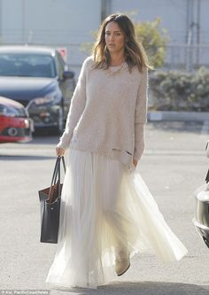 Jessica Alba wearing Needle & Thread Needle & Thread Tulle Maxi Skirt As Seen On Jessica Alba and Maiyet Sia East West Shopper, Raquel Allegra Distressed Oversized Sweater, Stella McCartney Wedge Bootie. Long White Tulle Skirt, Lace Skirt, Chiffon Skirt, Jessica Alba Style, Celebrity Style Guide, Star Fashion, Fashion Beauty, Spring Outfits, Work Outfits