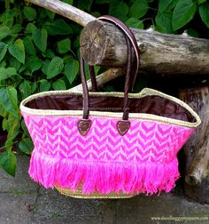 Embroidered Moroccan market Basket - Ibiza Beach Bag French market Basket - Picnic Basket - Beach Tote - Leather Handles
