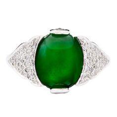 GIA Jade Diamond Platinum Ring