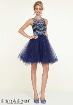 9304 Homecoming / Party/ Cocktail / Dresses Jeweled Beaded Bodice on Tulle Dark Blue