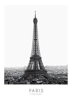 Poster met zwart-wit fotografie van Eiffeltoren