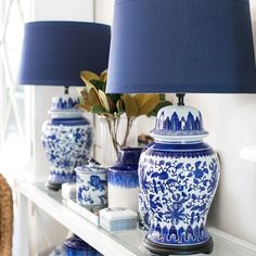 ~Lamp Love ~ This is our Lotus lamp with navy shade and we think it's all kinds of