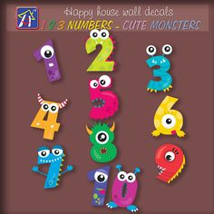123  numbers Cute Monsters  wall decals - 123 numbers decals - Cute Monsters  stickers - Kids room decor - Bedroom Nursery Playroom Decor by HappyHouseNo1 on Etsy