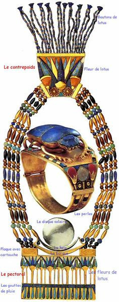 Saved from jfbradu.fr Bracelet et pectoral. Bracelet and pectoral of Tutankhamun. Ancient Egyptian Jewelry, Ancient Egypt Art, Old Egypt, Egyptian Art, Ancient Artifacts, Ancient History, Egypt Jewelry, Art Antique, Archaeology