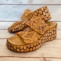 Vintage Late Maurices Wooden Sticks Wedge Woven Raffia Platform Slide Sandals Size - Very Good, Used Condition (please inspect photos) - Super Retro, Late Style - Made with Real Wood (theres a little weight to them but theyre not heavy) - Neutral, Natural Wedges, Trending Outfits, Stylish, Early 2000s, Cute, Ebay, Sticks, Stuff To Buy, Shopping