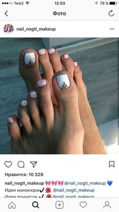 Pin on Toe art Pin on Toe art Pedicure Designs, Manicure E Pedicure, Toe Nail Designs, White Pedicure, Pedicure Ideas, Mani Pedi, Nails Design, Love Nails, Pretty Nails
