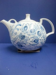 White Ironstone Teapot 12 Cup Hand Painted by FolkArtByNancy