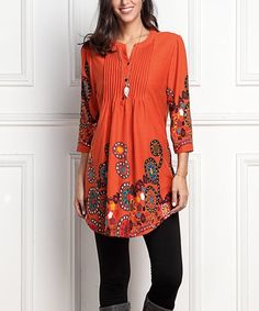 Orange Garden Notch Neck Pin-Tuck Tunic #zulily #zulilyfinds