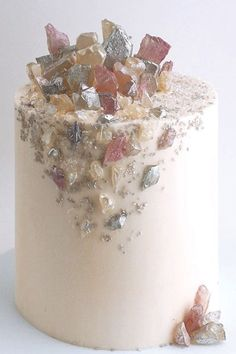 Stud a cake with sugar rocks on an ultra-smooth buttercream frosting for a nod to the geode cake trend.