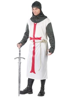 Choose this fun Templar Knight Costume for Men polyester costume and be ready to trick-or-treat, enter a costume contest or be the hit of the Halloween party! Clever Halloween Costumes, Cool Costumes, Adult Costumes, Costume Ideas, Holiday Costumes, Renaissance Costume, Medieval Costume, Costume Wigs, Costume Shop
