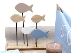 Table decoration Communion Confirmation Blue Taupe Fish Display Set 20 persons - All About Women Garden Party Decorations, Decoration Table, Decoration Communion, Fish Stand, Rattan Armchair, Vintage Chest, Diy Crafts To Do, Best Ikea, Napkin Folding