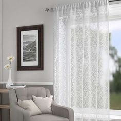 Available in a choice of sizes, this white lace panel features a damask-style pattern and a slot top header to allow it to be easily attached to your curtain pole. White Lace Curtains, Silver Curtains, Curtains Dunelm, Voile Curtains, Blue Lounge, Voile Panels, Types Of Curtains, Home Organisation