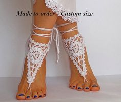 Crochet Barefoot Sandals, Nude shoes, Foot jewelry, Wedding, Victorian Lace, Yoga, Anklet , Bellydance, Steampunk