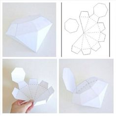 Paper diamond diy - Tutoriale - The Dallas Media Paper Box Template, Origami Templates, Paper Crafts Origami, Diy Origami, Diy Arts And Crafts, Diy Crafts, Diamond Template, Paper Diamond, Geometric Origami