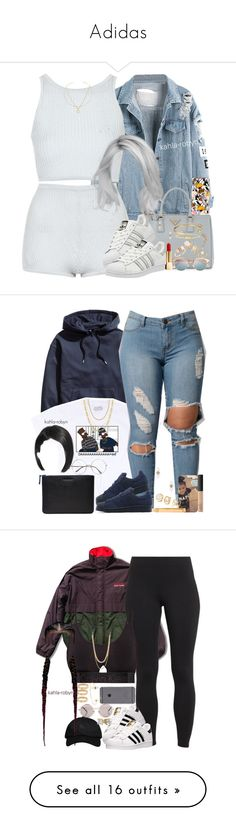 """Adidas"" by kahla-robyn ❤ liked on Polyvore featuring Topshop, Finn, Prada, adidas, Minor Obsessions, Yves Saint Laurent, Le Specs, Jacquie Aiche, H&M and Jemma Wynne"