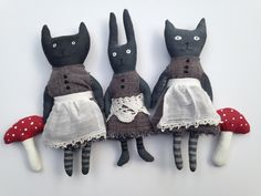 Mary Stanley - cats and rabbit-painted cloth | by art spirit