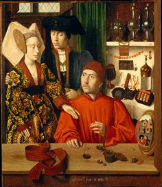 Saint Eligius as a Goldsmith by Petrus Christus, 1449 the Netherlands, the Met Museum  The standing man and woman are buying a wedding ring, which is being weighed in that little scale.  To the left of Saint Eligius (or the goldsmith - there's controversy as to who it represents) is a convex mirror showing the road outside his shop.  Seen in this mirror are two men, one who is holding a falcon.