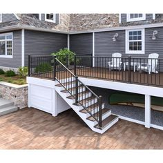 Deckorators (Assembled: x Classic Aluminum Satin Black Aluminum Deck Rail Kit with Balusters at Lowe's. This durable, yet minimal aluminum stair rail will not obstruct your view. The stair rails come with classic baluster connectors installed. Deck Stairs, Deck Railings, Deck Railing Design, Horizontal Deck Railing, Outdoor Stair Railing, Deck Railing Ideas Diy, Vinyl Deck Railing, Exterior Stair Railing, Outside Stairs