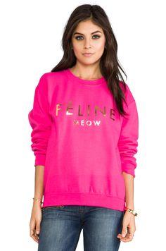 Brian Lichtenberg Feline Women Sweatshirt in Pink/Gold Foil