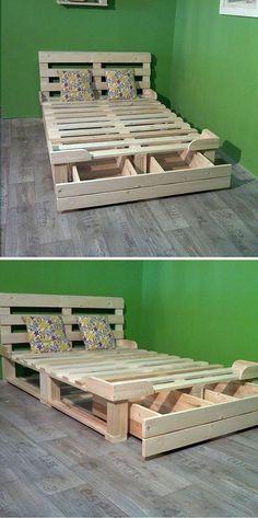 Pallet storage bed ideas