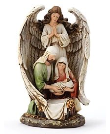 Napco Woodcut Guardian Angel with Holy Family & Reviews - Holiday Shop - Home - Macy's Holy Family, Holi, Sagrada Familia, Holi Celebration