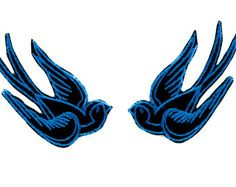 Blue Swallow Sparrows Birds Patch Iron on Applique Alternative Clothing Tattoo Rockabilly - YDS-EMPA-052-BLUE-Patch