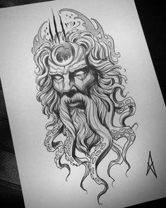 Image could contain: drawing – - diy tattoo images Wolf Tattoos, Leg Tattoos, Black Tattoos, Body Art Tattoos, Sleeve Tattoos, Poseidon Tattoo, Hades Tattoo, Poseidon Drawing, Medusa Tattoo
