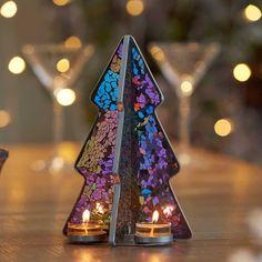 Tea Light Candles, Tea Lights, Glass Tealight Candle Holders, Partylite, Mystique, Tea Light Holder, Mosaic Glass, Decoration, Christmas Trees