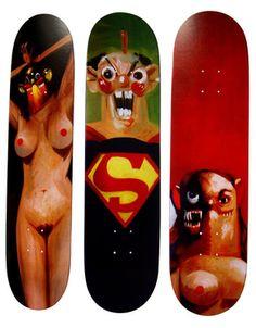 George Condo, Supreme Skate Decks (Set of Three)