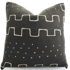 African Mudcloth Pillow Cover Ethnic Brown Black by BohoPillow