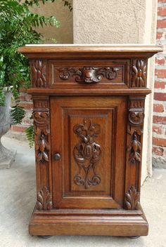Antique French Carved Oak Nightstand Display Stand Table Renaissance MARBLE #Renaissance