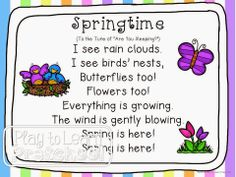 Spring - Centers and Circle Time Preschool Unit April Preschool, Preschool Music, Spring Songs For Preschool, Spring Songs For Kids, Spring Activities, Preschool Ideas, Circle Time Activities, Preschool Teachers, Preschool Centers