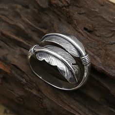 Feather Ring, Feather Jewelry, Compass Jewelry, Pewter Art, Casual Rings, Boho Rings, Rings For Men, Sterling Silver, Emotional Meaning