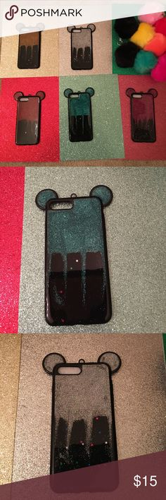 Iphone 7 plus glitter drip Mickey Mouse ear case Brand new mickey mouse tpu case for iphone 7 plus this can also fit iphone 6 plus or 6s plus  but will cover the camera some but still can be used and doesnt affect picture taking  but super cute thin bendable material for your device also comes with a key chain pom for your purse or keys or anything you like when you order please leave what color pom pom keychain you want in the comments i dont have many variety of color so its kind of first…