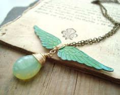 Winged Victory Necklace Patina Brass Jewelry Mint Green Vintage Style Gold Wing Necklace