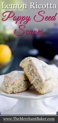 Lemon Ricotta Poppy Seed Scones are rich with butter and ricotta cheese, speckled with poppy seeds and covered in a super lemony glaze. Poppy Seed Scones Recipe, Lemon Poppy Seed Scones, Ginger Bread Cookies Recipe, Poppy Seed Recipes, Easter Cookie Recipes, Dessert Recipes, Breakfast Recipes, Breakfast Tea, Breakfast Snacks