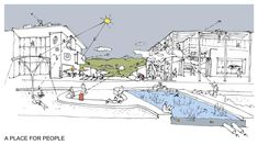 A PLACE FOR PEOPLE   The design of the campus from the open spaces through to the most private spaces should follow a user-orientated principle.  Within the campus, pedestrian and cyclist movement must be prioritised with vehicular traffic & parking kept to a minimum and the periphery. Open Spaces, Pedestrian, Architects, Competition, University, People, Design, Building Homes, People Illustration