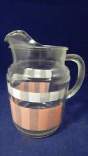 VTG 1960's Federal Glass? Pink & White Water Pitcher CHIPPED