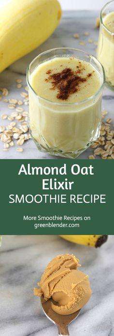 Almond Oat Elixir Smoothie on Green Blender Health Smoothie Recipes, Detox Smoothies, Protein Smoothies, Smoothie Drinks, Vitamix Recipes, Drink Recipes, Health Eating, Eating Healthy, Just Juice