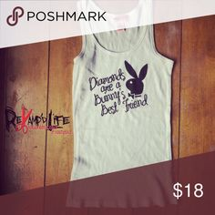 """NWOT Official Playboy white wife beater/tank top •••☠️ BUNDLE & SAVE ☠️ WILL CONSIDER *ALL* REASONABLE OFFERS!  NEW WITHOUT TAGS! Official Playboy wife beater/tank top • official Playboy merchandise. This super cute and relaxed white wife beater/ribbed tank top says """"Diamonds are a bunny's best friend."""" Brand new, never been worn. Extremely comfortable and casual.  Size MEDIUM  #playboy #playmate #playboybunny #vintage #retro #vtg #playboymansion #playboyintimates #wifebeater #tanktop #nwot…"""