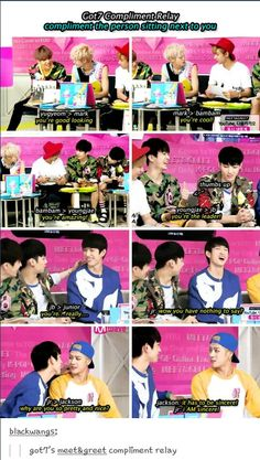 "to jinyoung ""you are perfect"" n thats why jaebum is lost for words  And jinyoung is being flirty to jackson haha"