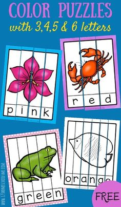 FREE Color Word Puzzles - these are such a fun way for kids to learn to spell and read color words. Fun learning activity for prek, kindergarten, first grade (grade grade, homeschool)Do you have a student working on colors? Grab these Free Color Word Puzz Color Word Activities, Math Activities For Kids, Spelling Activities, Color Activities Kindergarten, Preschool Shapes, Spelling Games, Preschool Colors, Listening Activities, Science Ideas